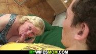 Lad drills breasty unshaved cum-hole mother-in-law on the floor