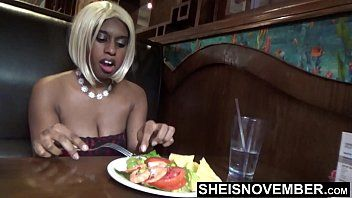 Eating food in public flashing my big brown love bubbles and teats for my pervert boss to keep my job , scary squeezing my love muffins and areolas hiding from people walking by , being uncomplaining pulling my shirt down reality video msnovember