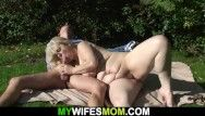 Sexy blond sexy mother in law taboo sex outdoors