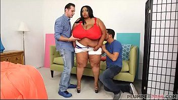Massive tit african bbw cotton candi acquires double teamed