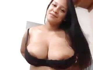 Breasty lalin girl milking boobs